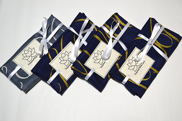 Custom Hand-painted Script Navy Pocket Square - Made to Order