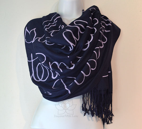 Custom Hand-painted Script Pashmina Navy Scarf (Pashmina/Silk blend) - Made to Order
