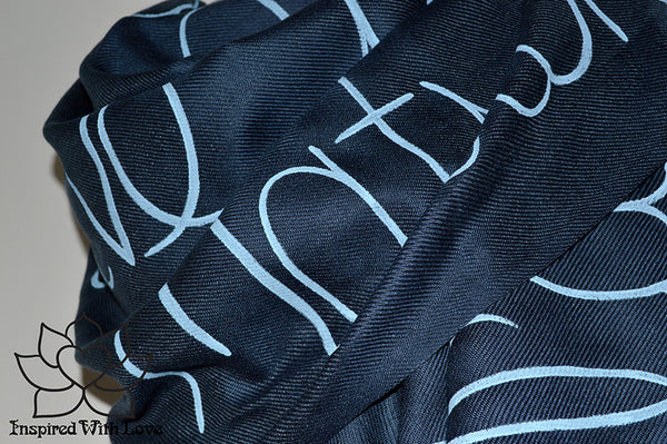 Custom personalized hand-painted pashmina script Navy scarf. Completely customizable. Choose your favorite quote, message, phrase. Contain a hidden secret message on the inside and looks like an abstract pattern when worn. Exclusively created by Inspired With Love.