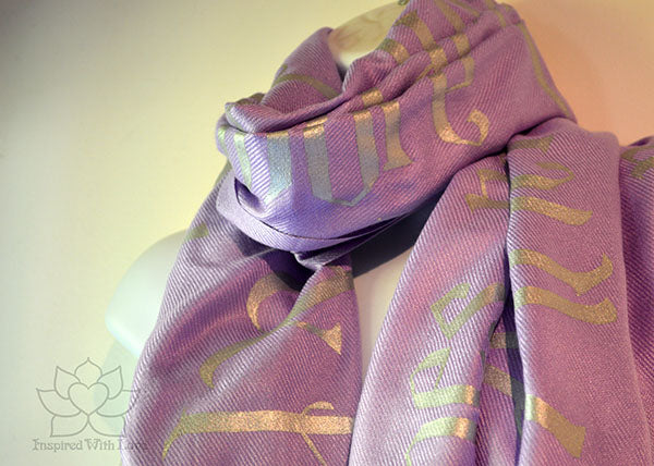 Custom Hand-painted Old English Script Pashmina Lavender Scarf (Viscose/Acrylic blend) - Made to Order