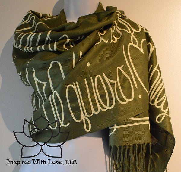 Custom personalized hand-painted pashmina script Olive Green scarf. Completely customizable. Choose your favorite quote, message, phrase. Contain a hidden secret message on the inside and looks like an abstract pattern when worn. Exclusively created by Inspired With Love.