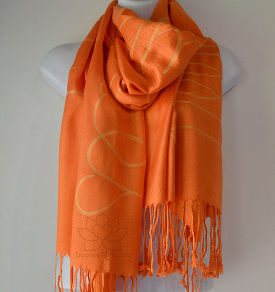 Custom Hand-painted Script Orange Scarf (Viscose/Acrylic blend) - Made to Order