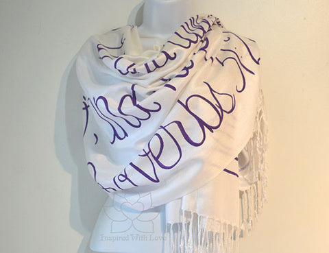 Custom Proverbs 31:28 Her children arise up and called her blessed shawl, Christian bible scripture verse scarf - Inspired With Love