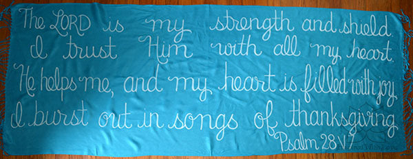 Custom Psalm 28:7 The LORD is my strength and shield shawl - Inspired With Love