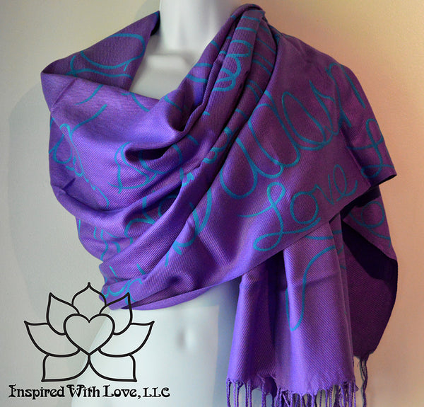 Custom personalized hand-painted pashmina script Purple scarf. Completely customizable. Choose your favorite quote, message, phrase. Contain a hidden secret message on the inside and looks like an abstract pattern when worn. Exclusively created by Inspired With Love.