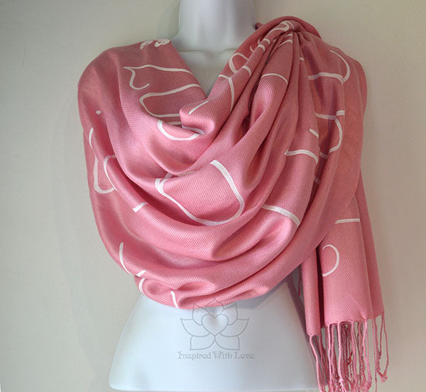 Custom Hand-painted Script Rose Pink Scarf (Viscose/Acrylic blend) - Made to Order