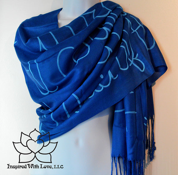 Custom personalized hand-painted pashmina script Royal Blue scarf. Completely customizable. Choose your favorite quote, message, phrase. Contain a hidden secret message on the inside and looks like an abstract pattern when worn. Exclusively created by Inspired With Love.