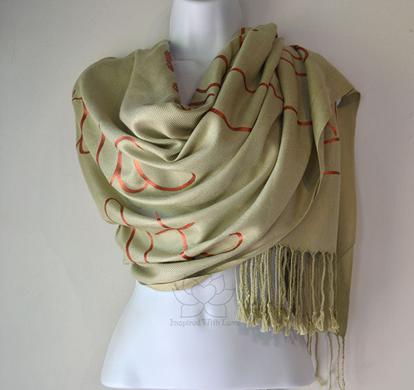 Custom Hand-painted Script Sage Scarf (Viscose/Acrylic blend) - Made to Order