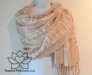 Custom personalized hand-painted pashmina script Seashell scarf. Completely customizable. Choose your favorite quote, message, phrase. Contain a hidden secret message on the inside and looks like an abstract pattern when worn. Exclusively created by Inspired With Love.