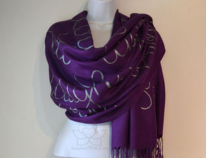 Proverbs 31:25 She is clothed with strength and dignity, custom script scarf, Christian bible scripture shawl - Inspired With Love