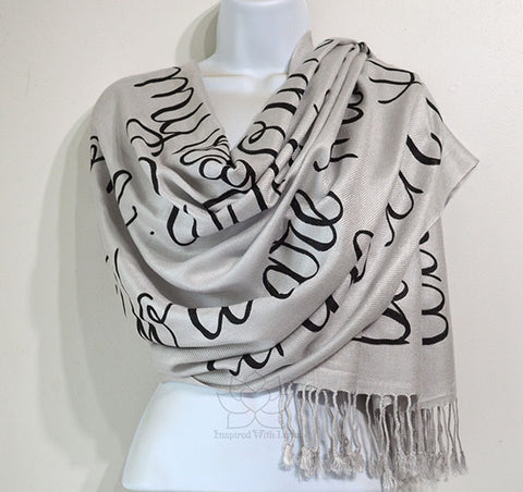 Custom message quote script Silver scarf, Personalized secret message shawl - Inspired With Love