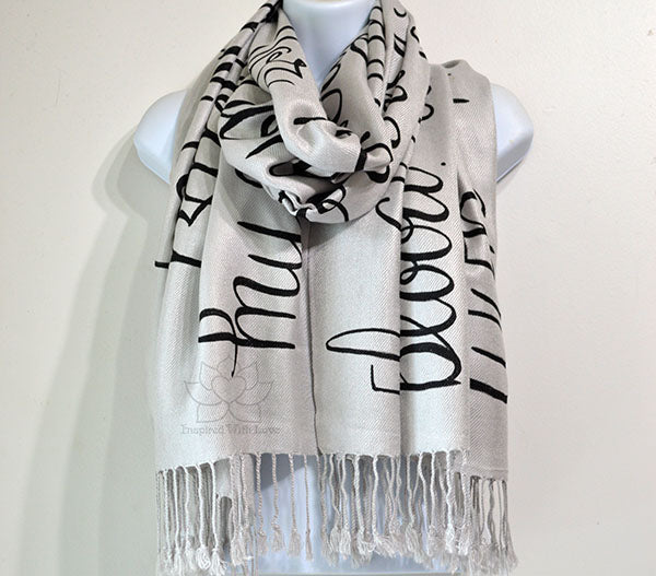 Custom Hand-painted Script Silver Scarf (Viscose/Acrylic blend) - Made to Order