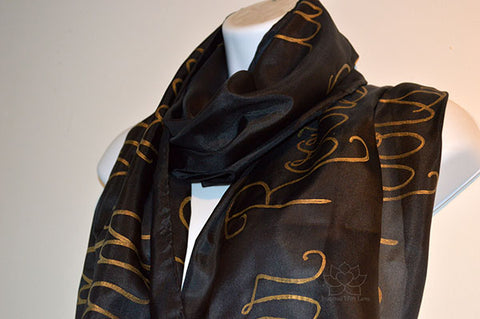 custom personalized hand-painted script 100% silk solid black scarf, customized quote message wedding vows phrase, gifts for her, gift for mom, friendship scarf - Inspired With Love.