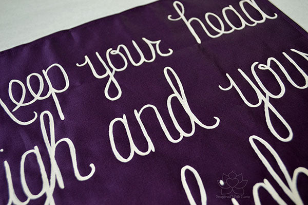 Custom 100% Luxury Premium Cotton Hand-painted Script Eggplant Pocket Square - Made to Order