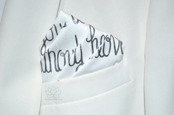 Custom 100% Luxury Premium Cotton Hand-painted Script White Pocket Square - Made to Order