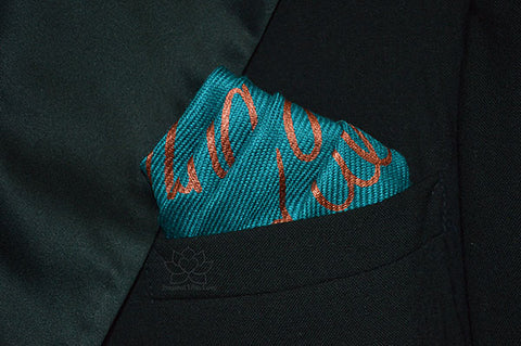 Custom Hand-painted Script Teal Pocket Square - Father Of Bride, Groomsman Proposal, Best Man Proposal, Will You Be My Best Man, Gifts for Dad, Gifts for Him, Inspired With Love