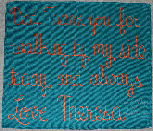 Custom Hand-painted Script Teal Pocket Square - Made to Order
