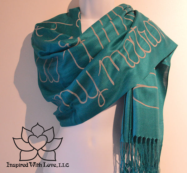 Custom Hand-painted Message Quote Script Pashmina Teal Scarf, Bridesmaid Proposal, Anniversary Scarf, Gift for Mom, Personalize Scripture Scarf - Inspired With Love