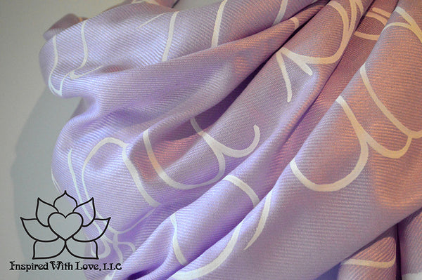 Custom personalized hand-painted pashmina script Thistle scarf. Completely customizable. Choose your favorite quote, message, phrase. Contain a hidden secret message on the inside and looks like an abstract pattern when worn. Exclusively created by Inspired With Love.