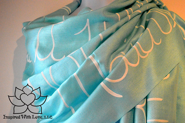 Custom Hand-painted Message Quote Script Pashmina Aqua Scarf, Will you be my bridesmaid, bridesmaid proposal, wedding gifts, gift for mom, anniversary gift, gift for her, literary scarf - Inspired With Love