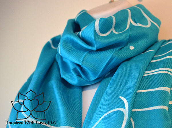 Custom personalized hand-painted pashmina script Turquoise scarf. Completely customizable. Choose your favorite quote, message, phrase. Contain a hidden secret message on the inside and looks like an abstract pattern when worn. Exclusively created by Inspired With Love.