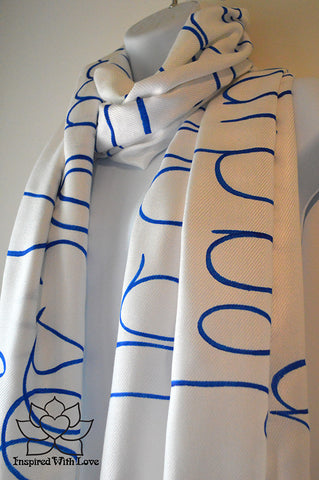 Personalized Hand-painted Pashmina Script White Scarf (Viscose/Acrylic blend) - Made to Order - Inspired With Love - 1