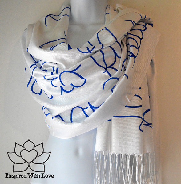 Personalized Hand-painted Pashmina Script White Scarf (Viscose/Acrylic blend) - Made to Order - Inspired With Love - 2