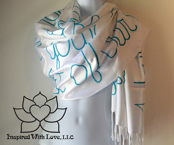 Custom personalized hand-painted pashmina script Ivory scarf. Completely customizable. Choose your favorite quote, message, phrase. Contain a hidden secret message on the inside and looks like an abstract pattern when worn. Exclusively created by Inspired With Love.