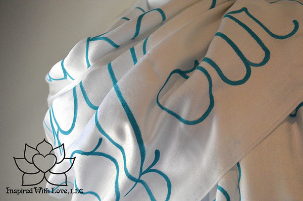 Personalized Hand-painted Pashmina Script White Scarf (Viscose/Acrylic blend) - Made to Order - Inspired With Love - 4