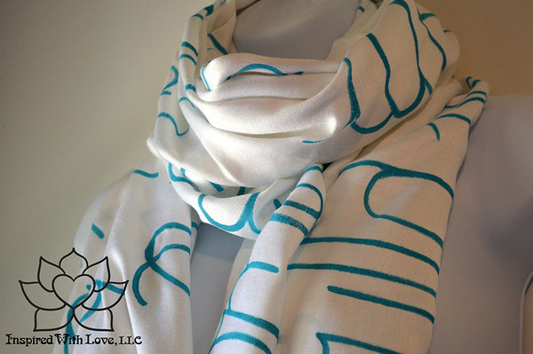 Custom personalized hand-painted pashmina script White scarf. Completely customizable. Choose your favorite quote, message, phrase. Contain a hidden secret message on the inside and looks like an abstract pattern when worn. Exclusively created by Inspired With Love.