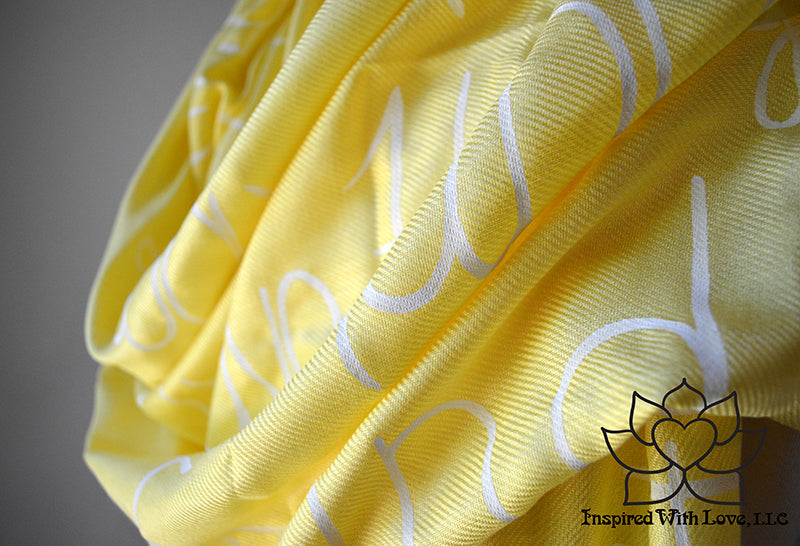 Custom Message Quote Script Yellow Scarf, Bridesmaid Proposal, Wedding Gifts, Gift for mom, Friendship Scarf - Inspired With Love