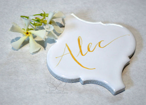 "Custom Personalized Calligraphy 3"" Standard White Arabesque Lantern Name Place Cards"