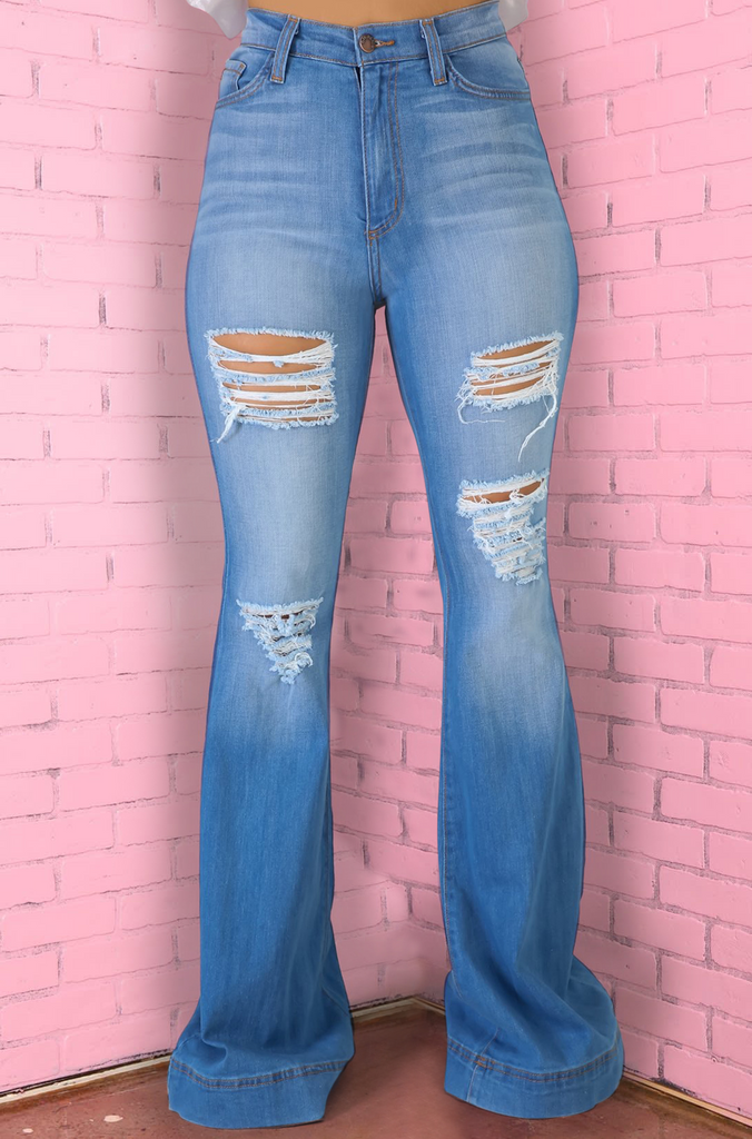 Savor Distressed High Rise Flare Jeans - Mid Wash - Swank A Posh