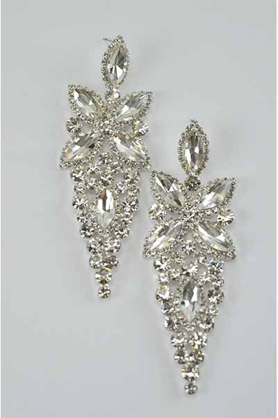 Bling Blah Silver Faux Crystal Earrings