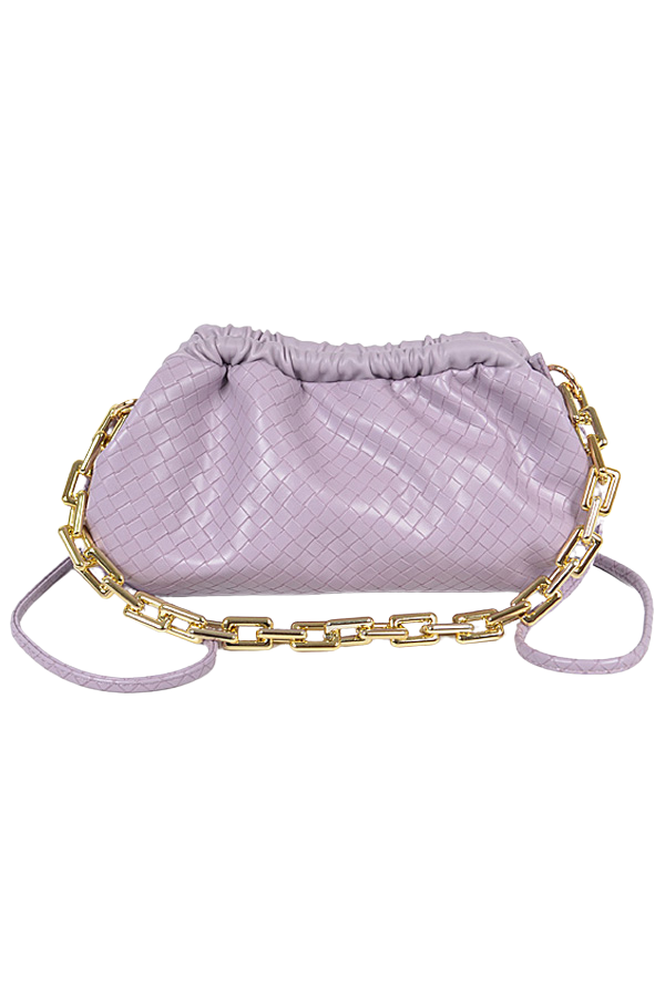 Yee Braided Faux Leather Pouch - Lavender - Swank A Posh