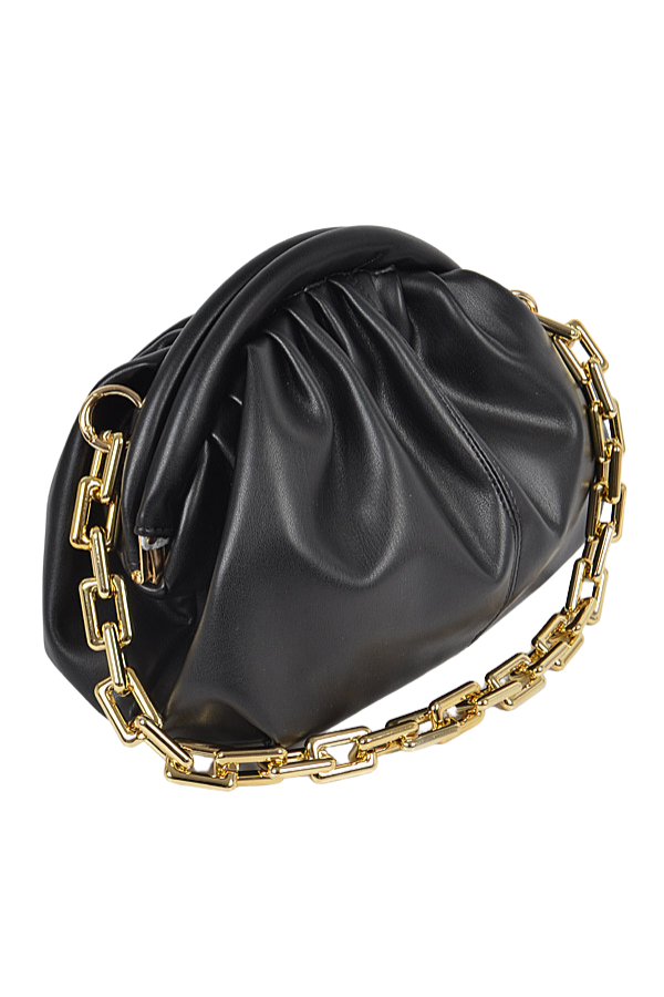 Nova Faux Leather Clutch - Black - Swank A Posh