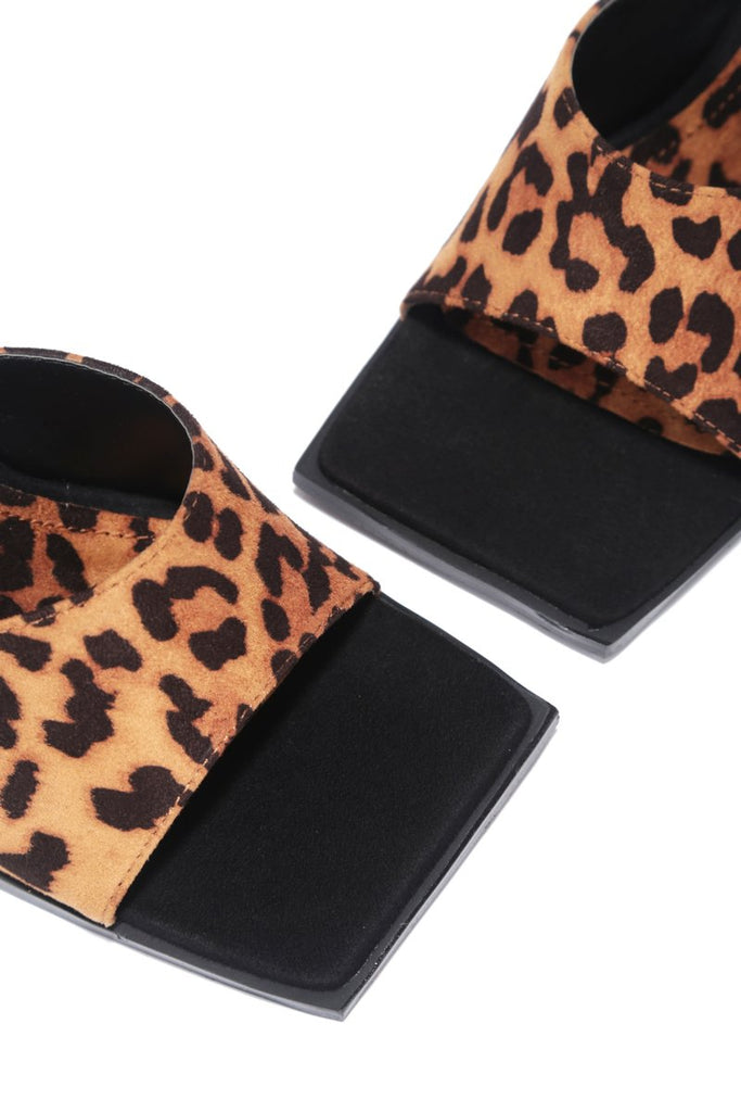 Think About It Square Toe Mule - Leopard - Swank A Posh