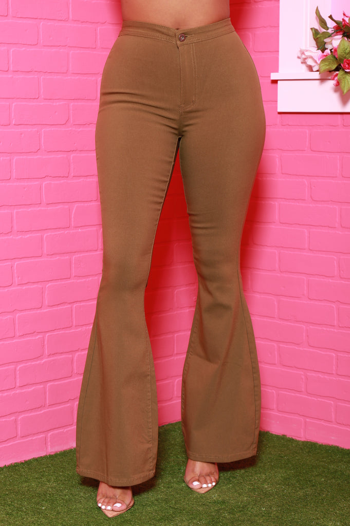 Major High Rise Flare Stretchy Jeans - Army Green - Swank A Posh