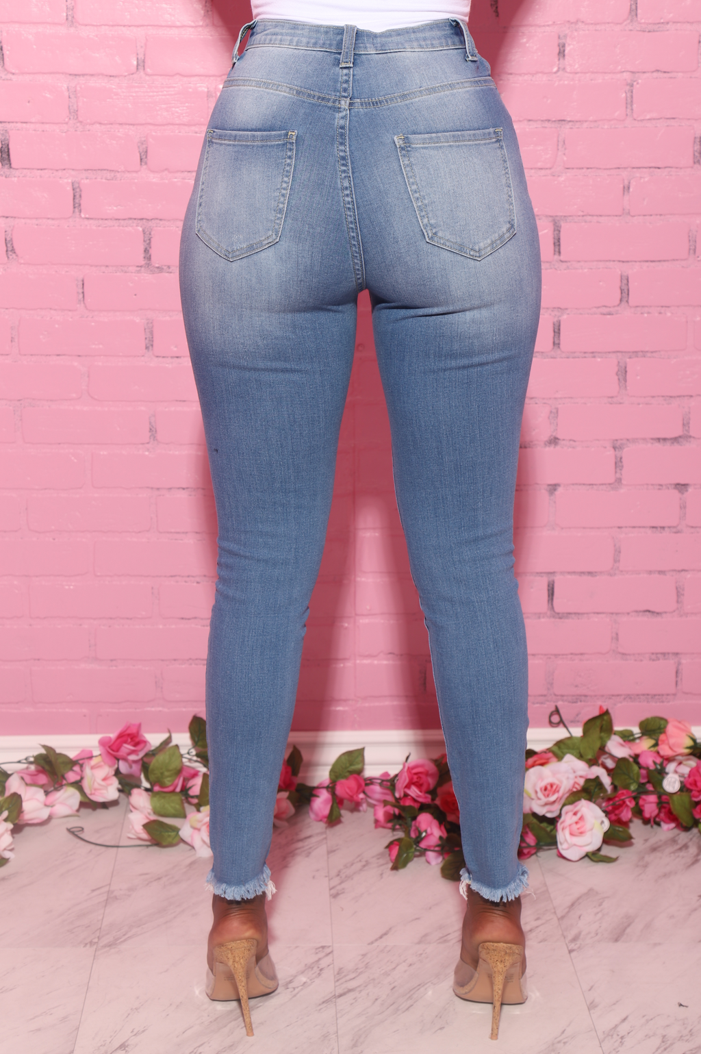 Behold Distressed High Rise Jeans - Mid Wash - Swank A Posh