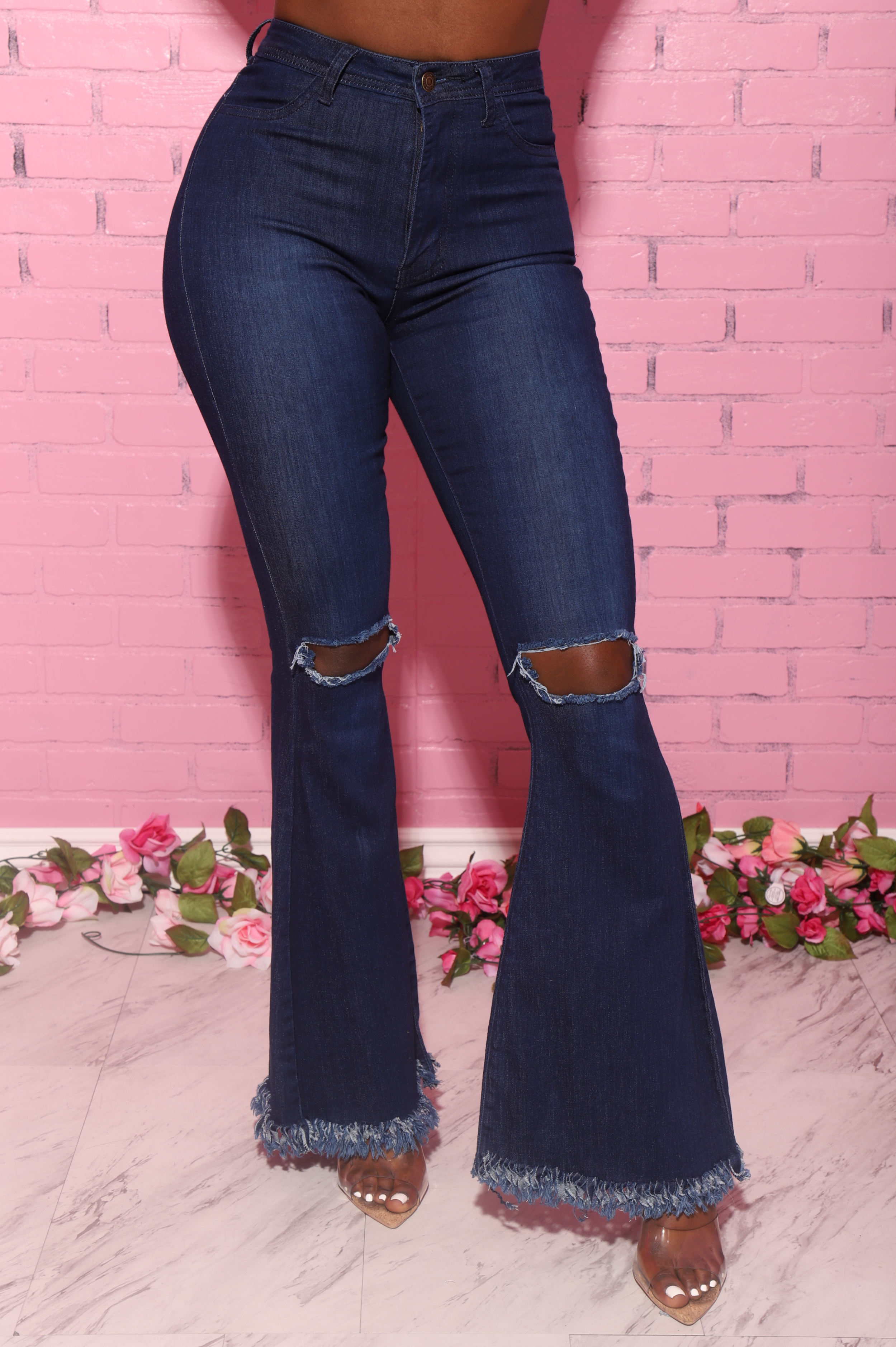 Frontline High Rise Frayed Bell Bottom Jeans - Dark Wash - Swank A Posh