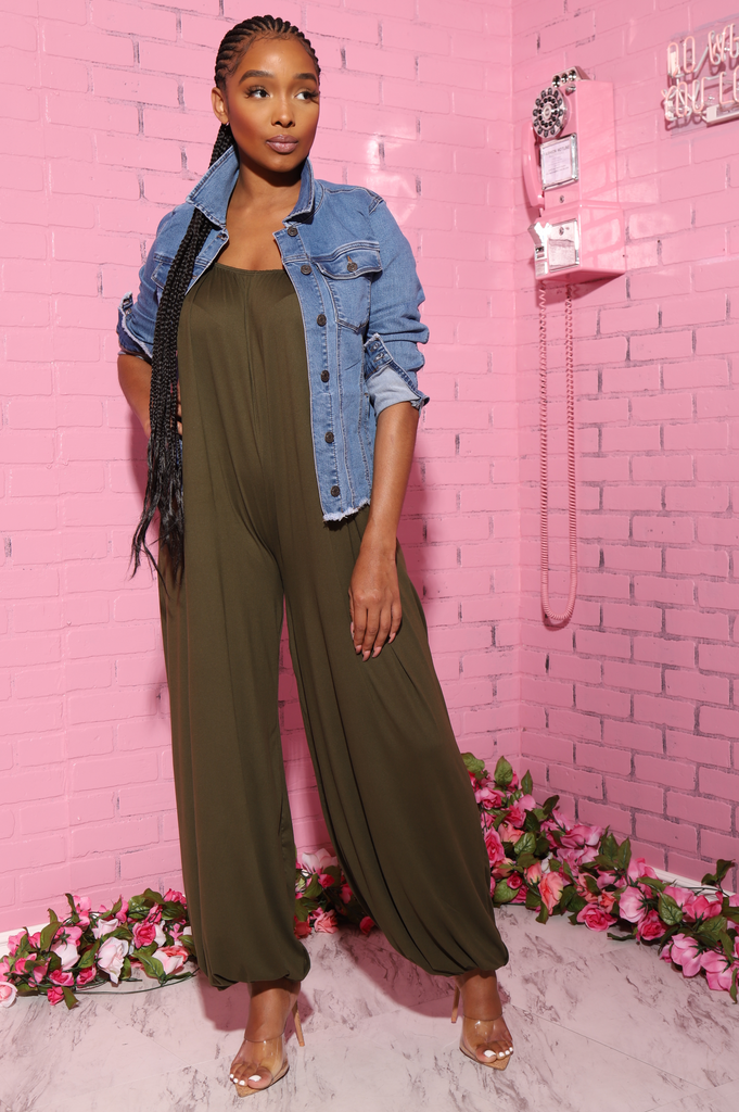 Moon Oversized Full Jumpsuit - Olive - Swank A Posh