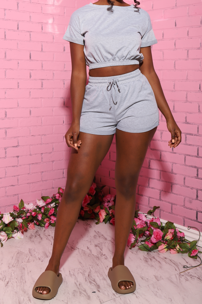 Marley Shorts Set - Heather Grey - Swank A Posh
