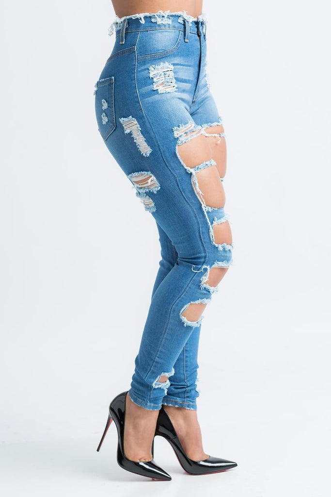 Refill Distressed High Rise Jeans - Swank A Posh