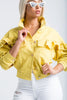 Ruffle Rider Oversized Denim Jacket - Yellow - Swank A Posh