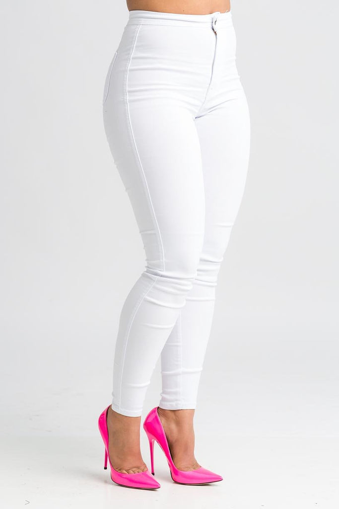 SuperGa High Waist Stretchy Jeans - White - Swank A Posh