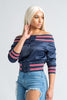 Clueless Navy Satin Off The Shoulder Bomber - Swank A Posh