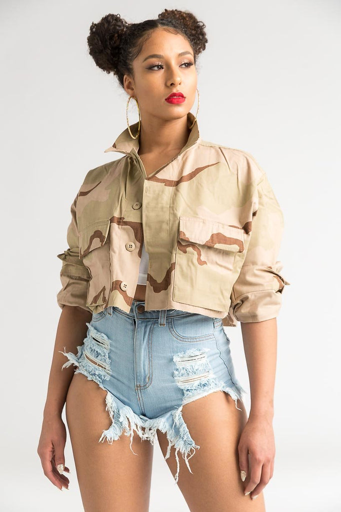 Vintage Desert Camouflage Cropped Jacket - Swank A Posh