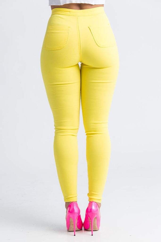 SuperGa High Waist Pants - Yellow - Swank A Posh