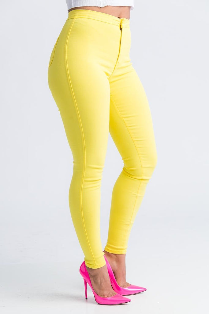 SuperGa High Waist Stretchy Jeans - Yellow - Swank A Posh