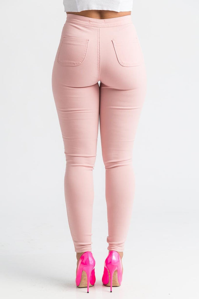 SuperGa High Waist Stretchy Jeans - Pink - Swank A Posh